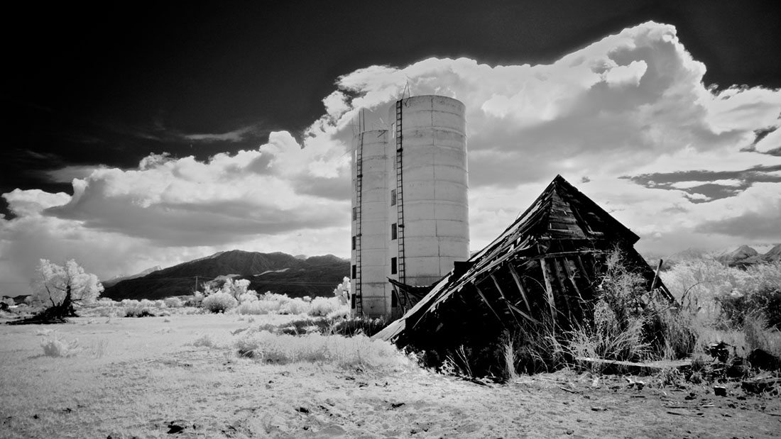 Twin Silos and Collapsed Farm Building - Infrared Exposure - Bishop, CA - 2016 | Osceola Refetoff