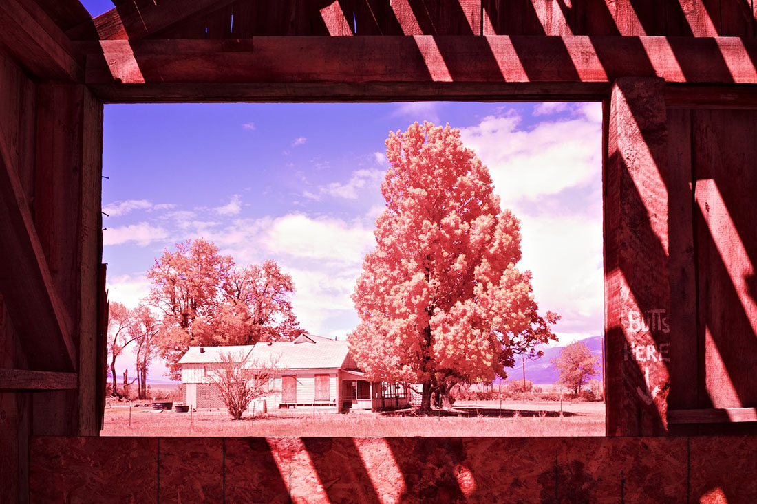 Window View of Boarded-Up Farm House from Abandoned Barn - Color/Infrared Exposure - Bishop, CA - 2016 | Osceola Refetoff