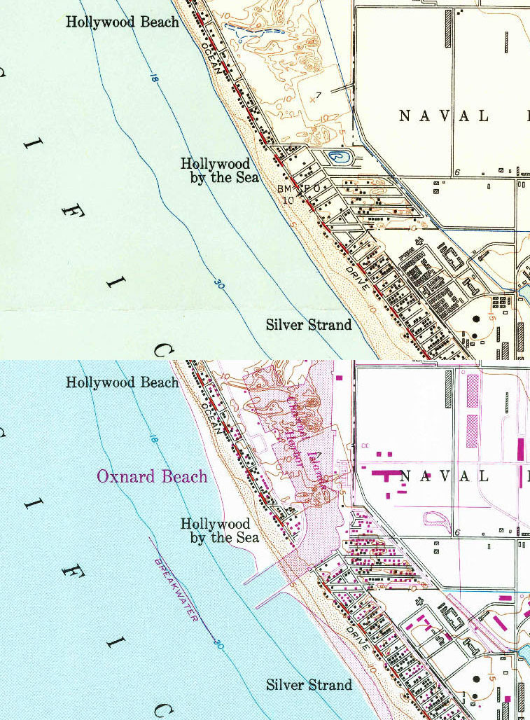 These two topographical maps, the top from 1949 and the bottom from 1971, show how construction of Channel Islands Harbor split Hollywood-by-the-Sea in two. Courtesy of the USGS.