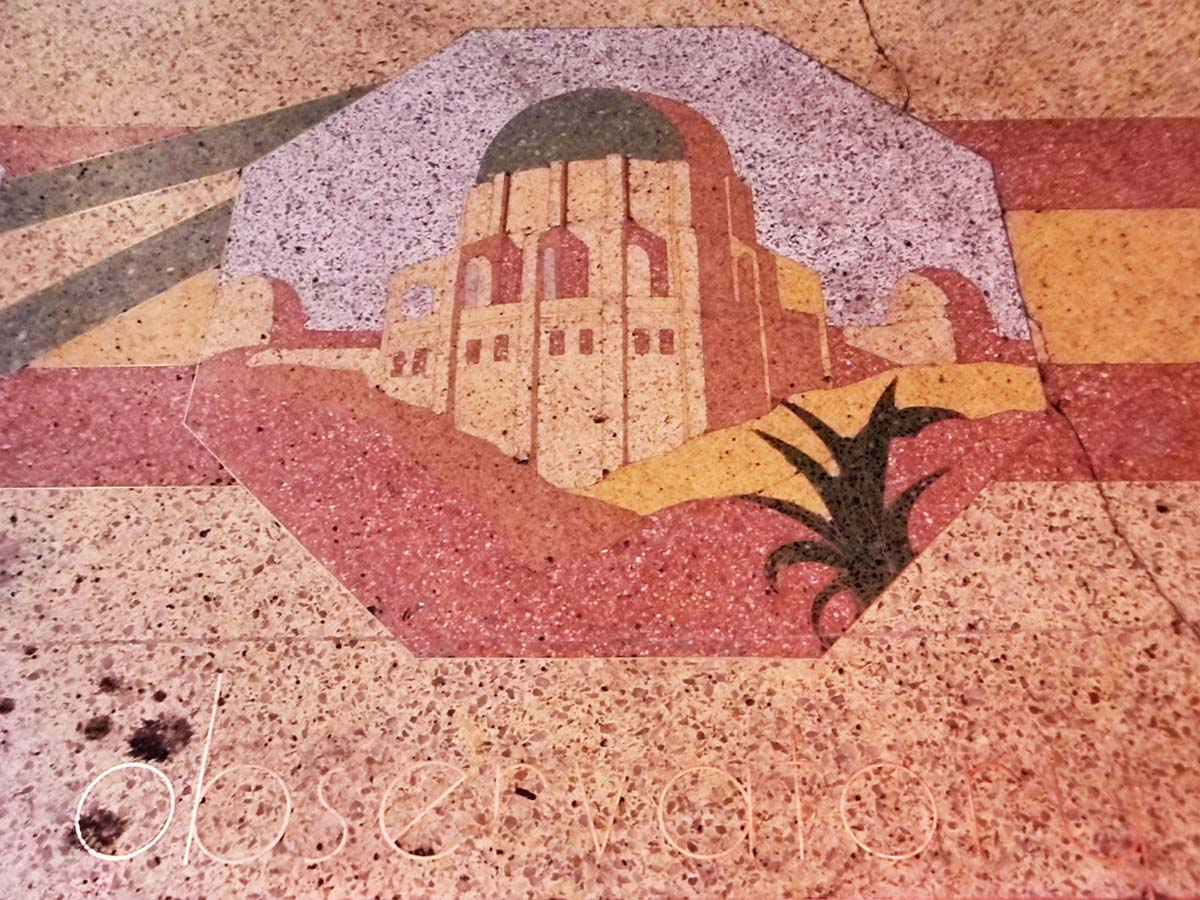 The Clifton's Cafeteria terrazzo sidewalk design features depictions of landmarks like Griffith Observatory. | Sandi Hemmerlein
