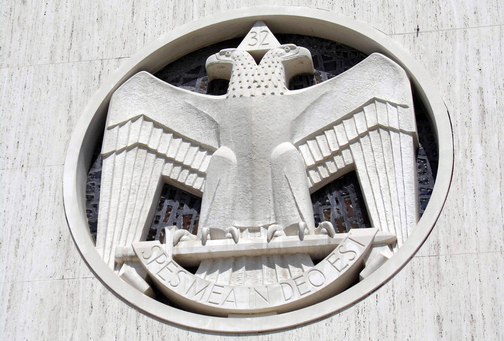 A large, double-headed eagle graces the exterior of the Scottish Rite Temple. | Sandi Hemmerlein