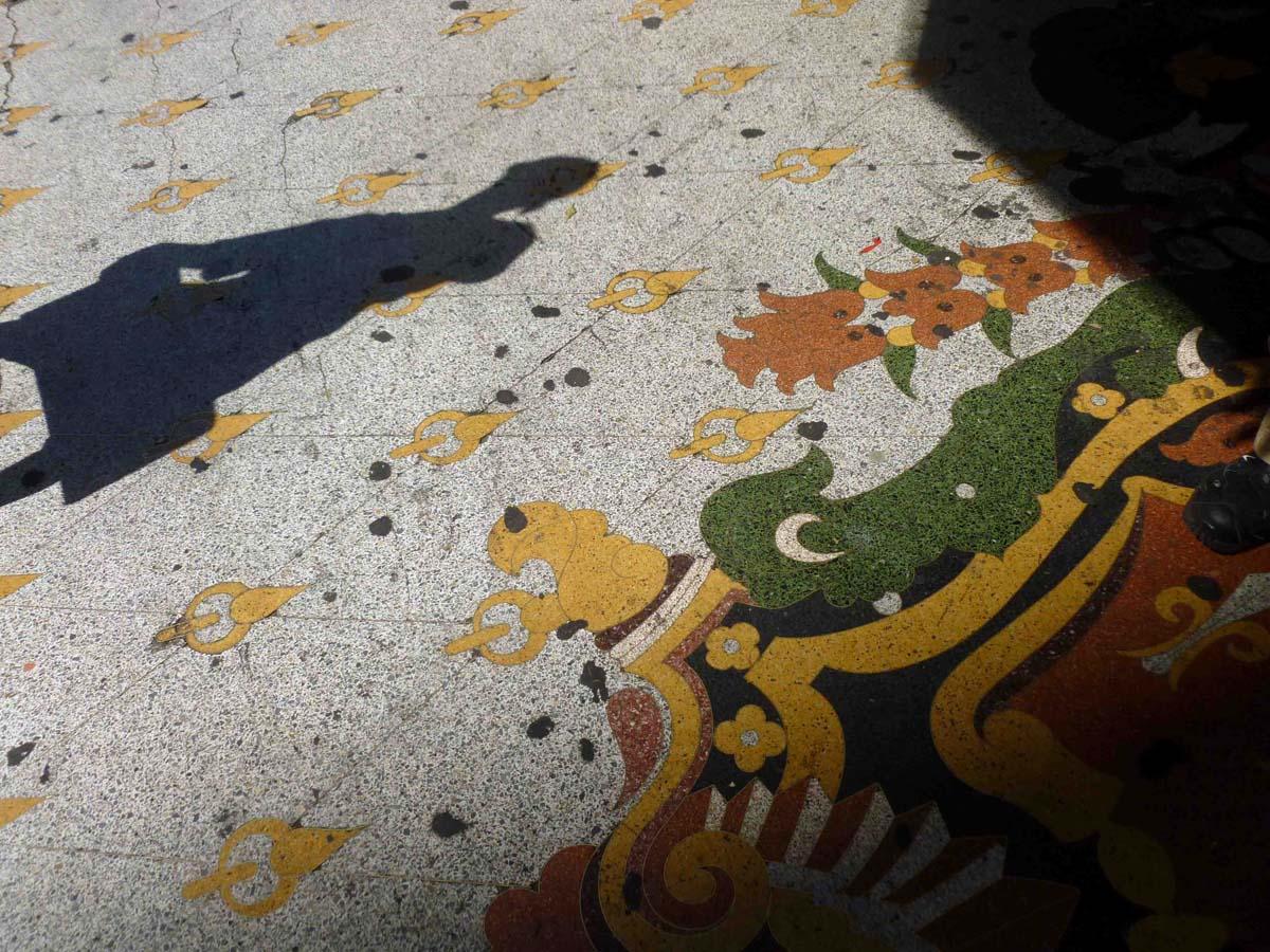 The Los Angeles Theatre's brightly colored terrazzo sidewalk. | Sandi Hemmerlein