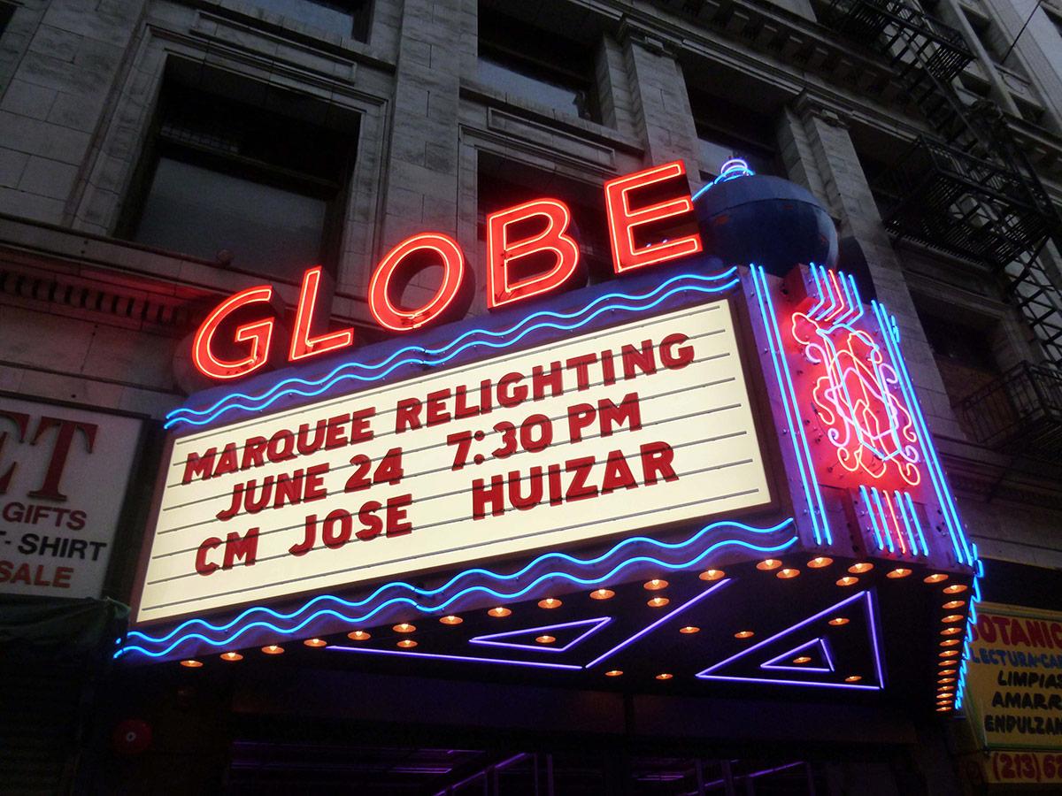 The Globe Theatre's restores marquee. | Sandi Hemmerlein