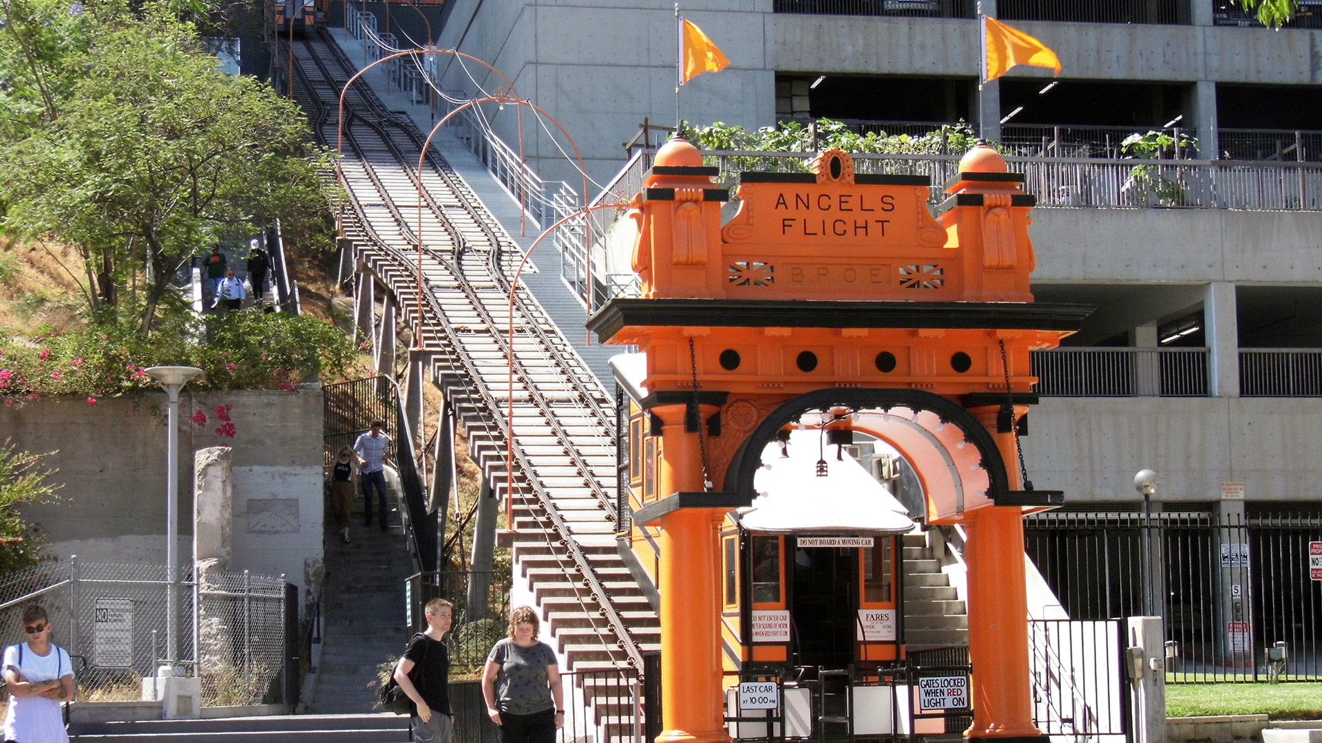 The bottom of Angels Flight across from Grand Central Market | Sandi Hammerlein
