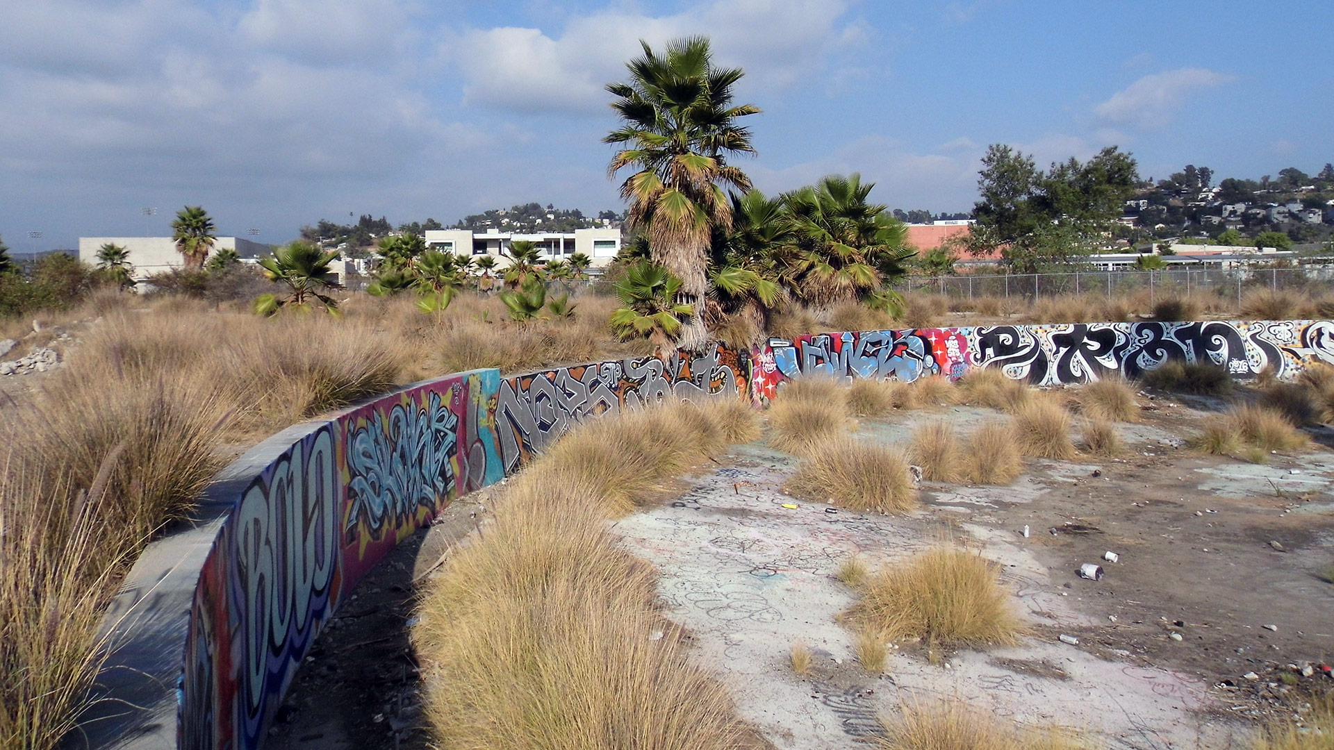The Bowtie project's graffitied roundhouse foundation. | Sandi Hemmerlein