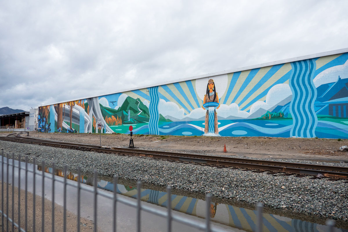 "A long shot of the""Rushing Waters"" mural in Pacoima 