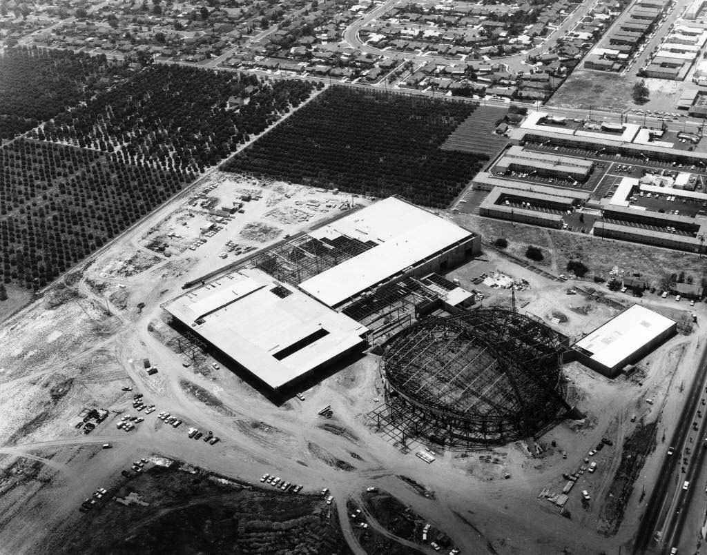 An aerial view of the Anaheim Convention Center under construction in 1966. $1.3 million worth of Bethlehem Steel went into the complex. Courtesy of the Anaheim Public Library's Anaheim History Room.