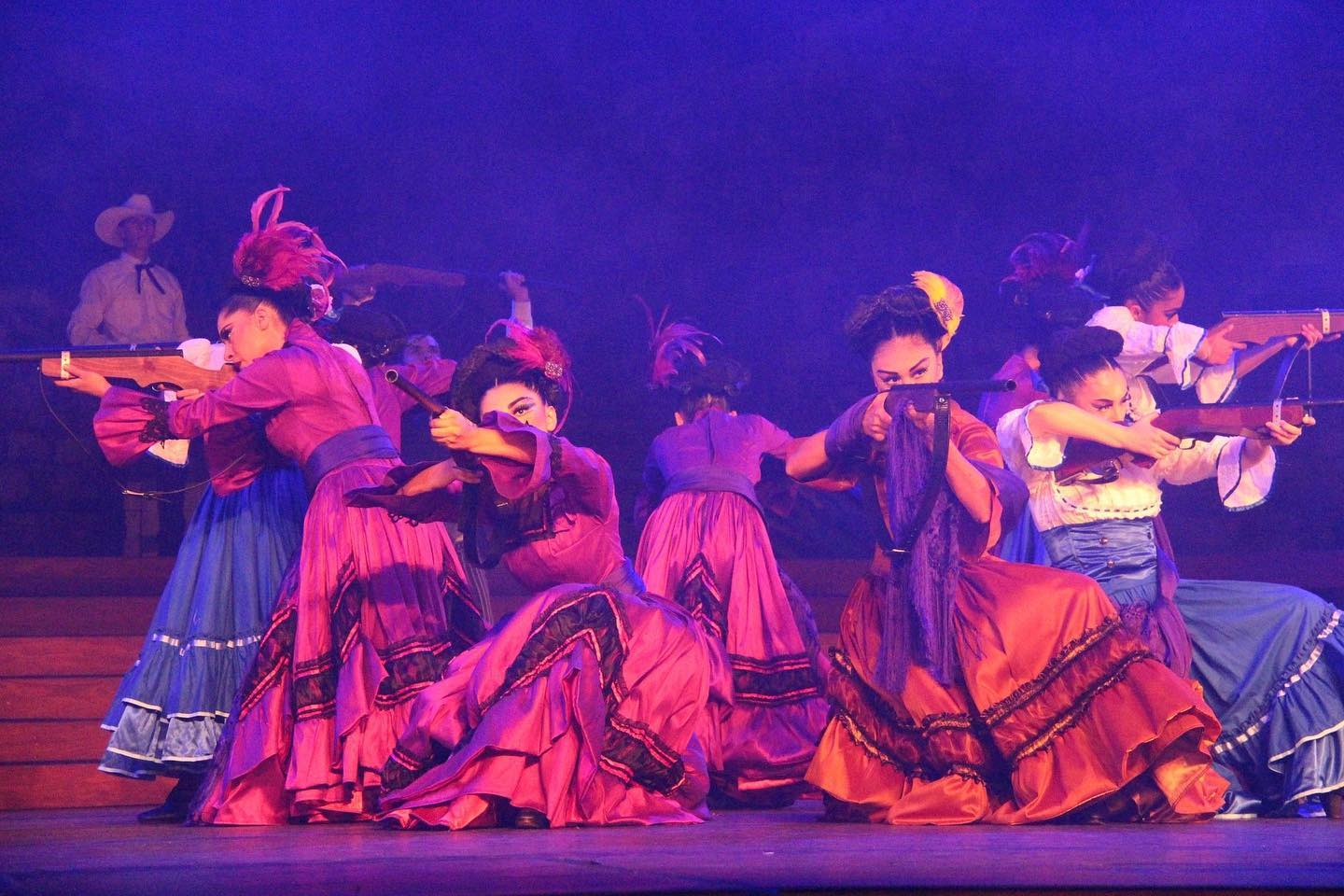 Pacifico Dance Company pays tribute to the strong women of the Mexican Revolution. Female dancers are shown armed and ready to defend their country and causes | Courtesy of Pacifico Dance Company
