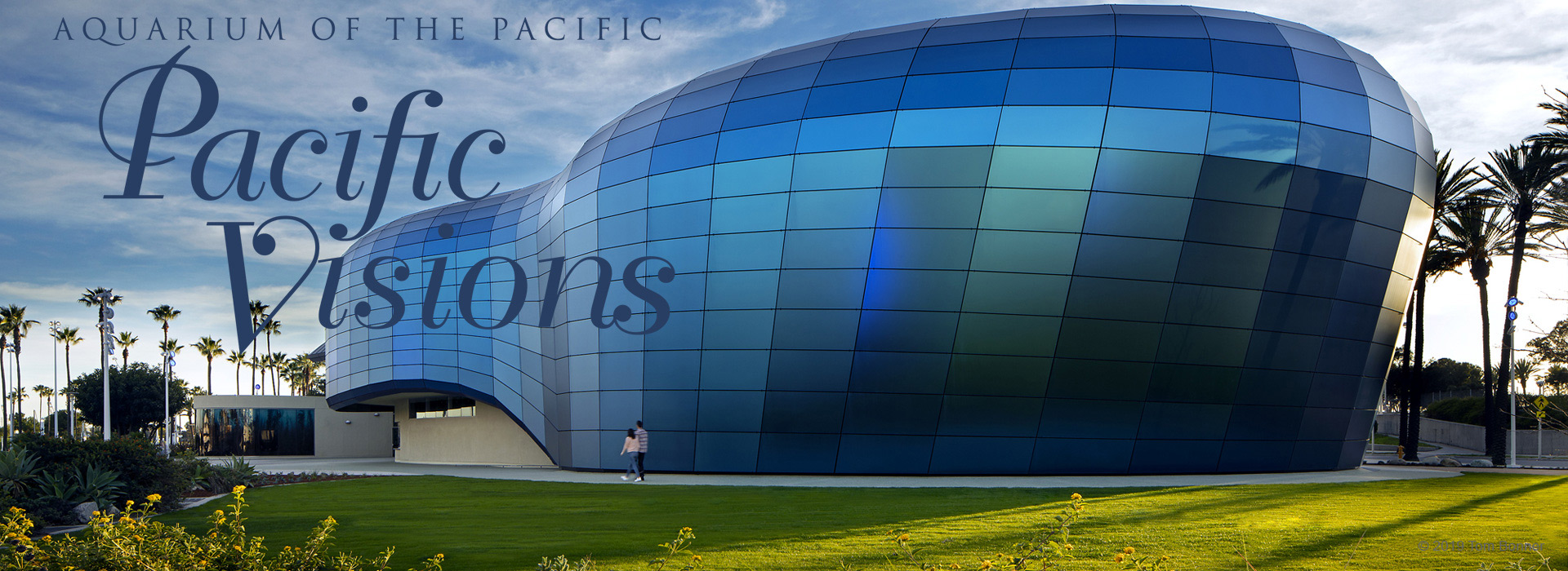 The stunning glass building at Aquarium of the Pacific