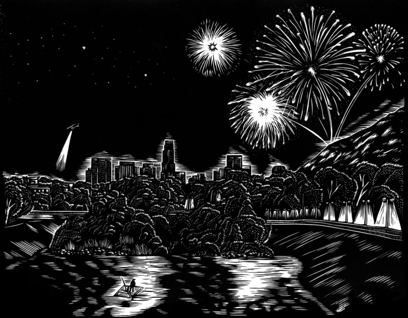 """Fireworks over Glendale Narrows from the """"Ballad of Huck and Miguel."""" 