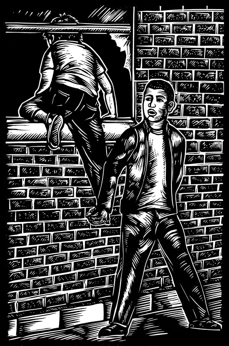 """Huck and Miguel break into an abandoned building, from the """"Ballad of Huck and Miguel."""" 