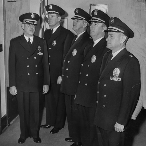 Chief Parker and his officers, 1954.
