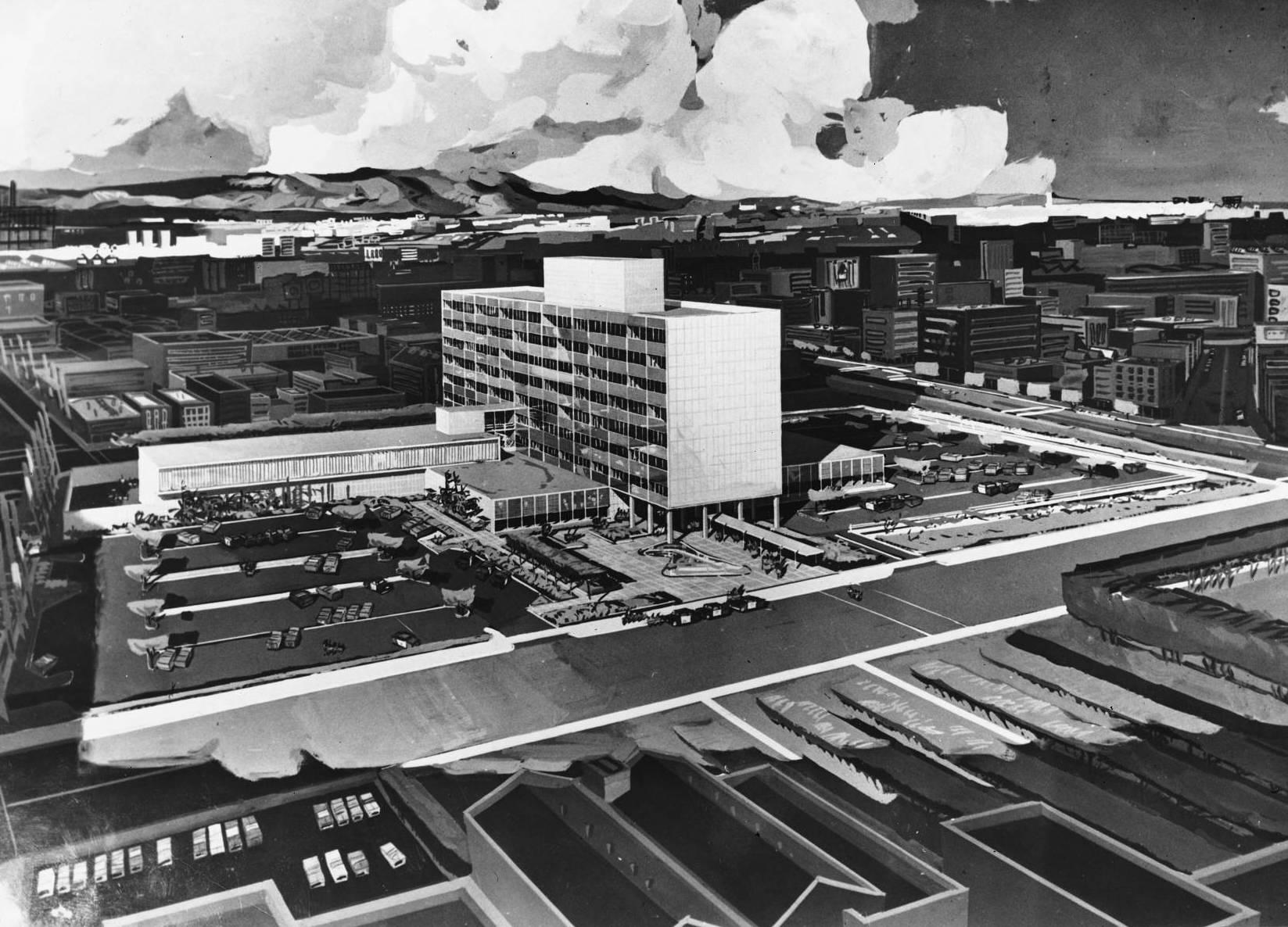 1952 artist's rendering of the Parker Center