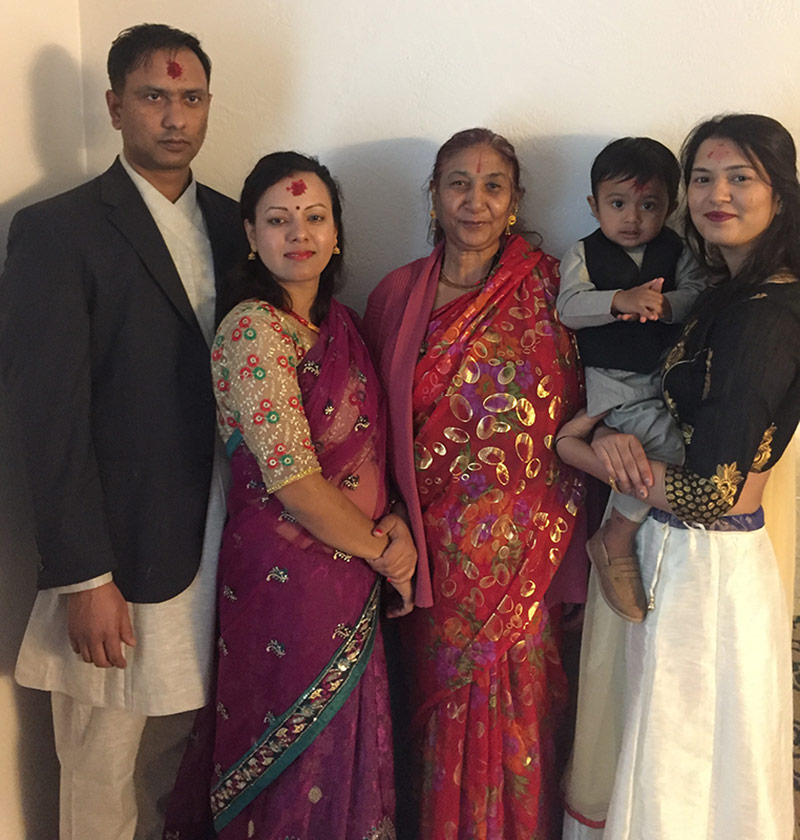 Parmila Kafley with her sister-in-law, mother, brother and nephew during the Dashain festival. | Courtesy of Parmila Kafley