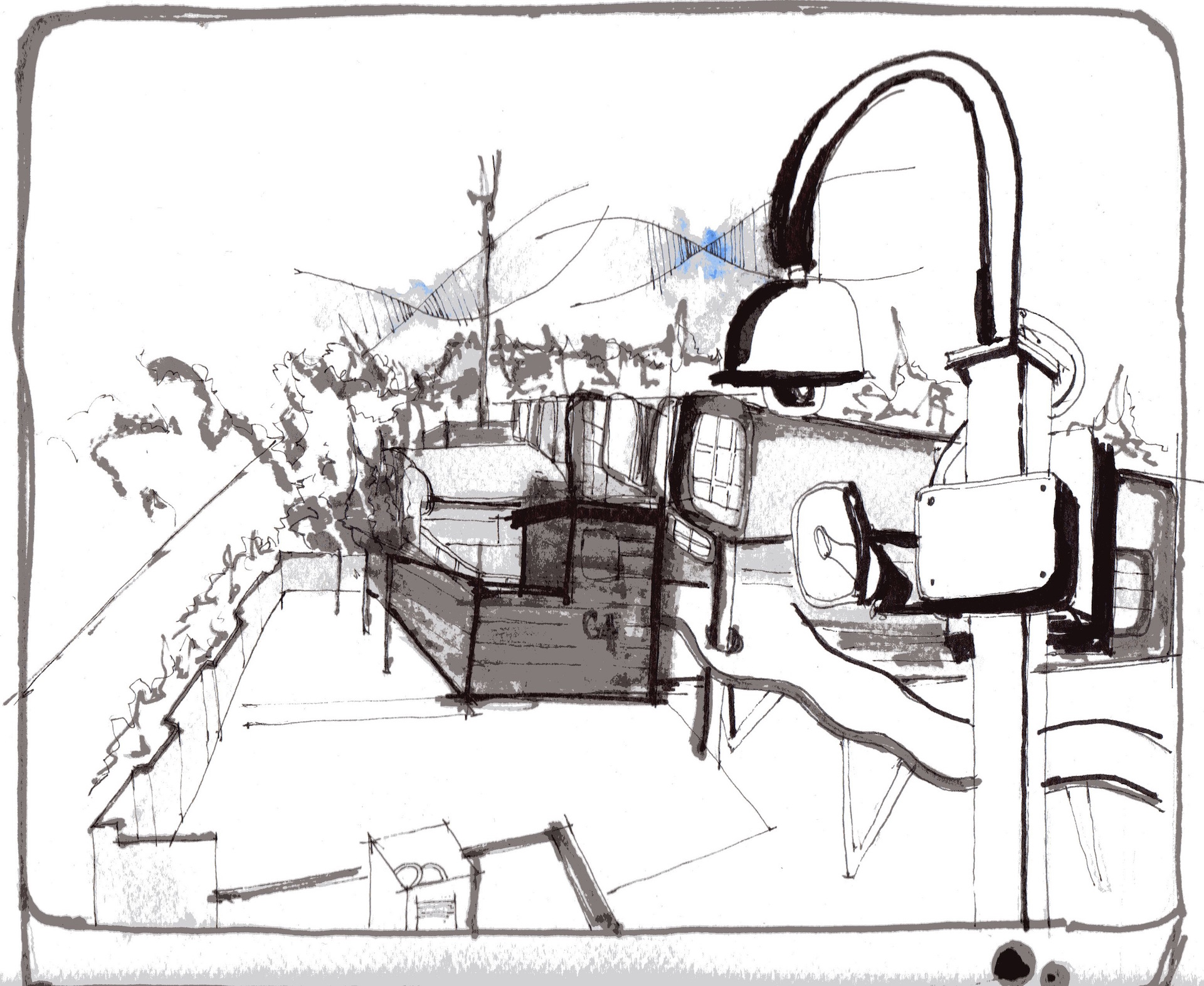 "Paulina V. Pulido, ""View of the C4i4 Exterior and Surveillance Camera from the Parking Lot Rooftop,"" Mexico City, Mexico, 2014. Ink on paper."
