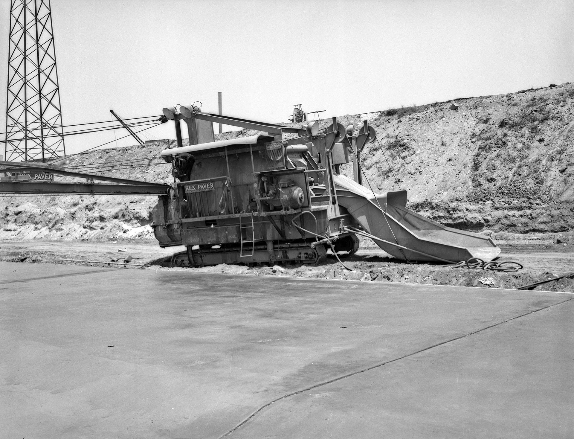 A concrete mixer in the bed of the Los Angeles River, 1940