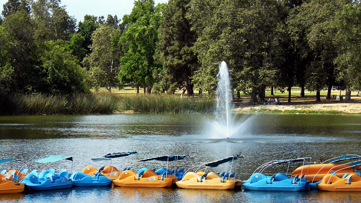 Pedal boats at at Legg Lake at Whittier Narrows Recreation Area | Sandi Hemmerlein