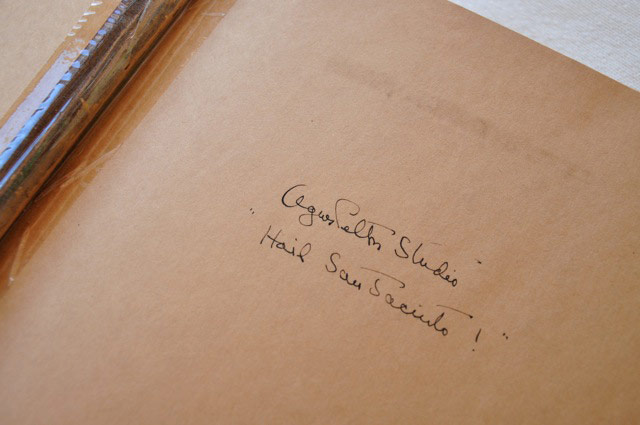 Agnes Pelton's studio guest book. | Photo by Christy Porter.
