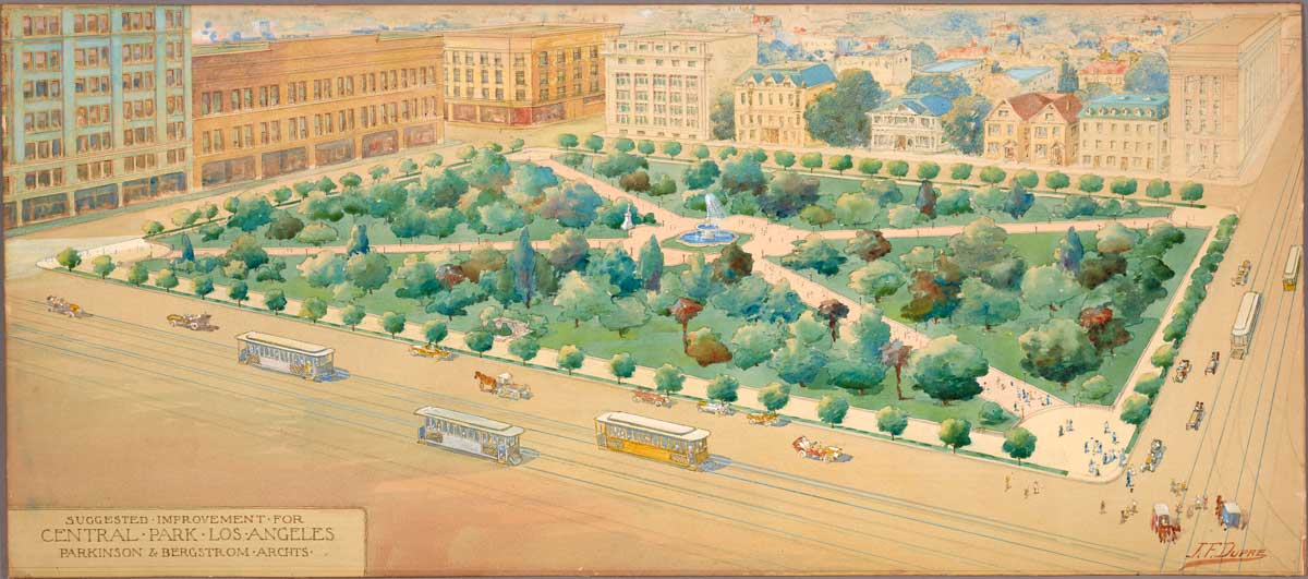 A watercolor rendering of suggested improvements for Pershing Square by architects John Parkinson and George Edwin Bergstrom drawns by J. F. Dupre circa 1910 | The Huntington Library, Art Museum, and Botanical Gardens