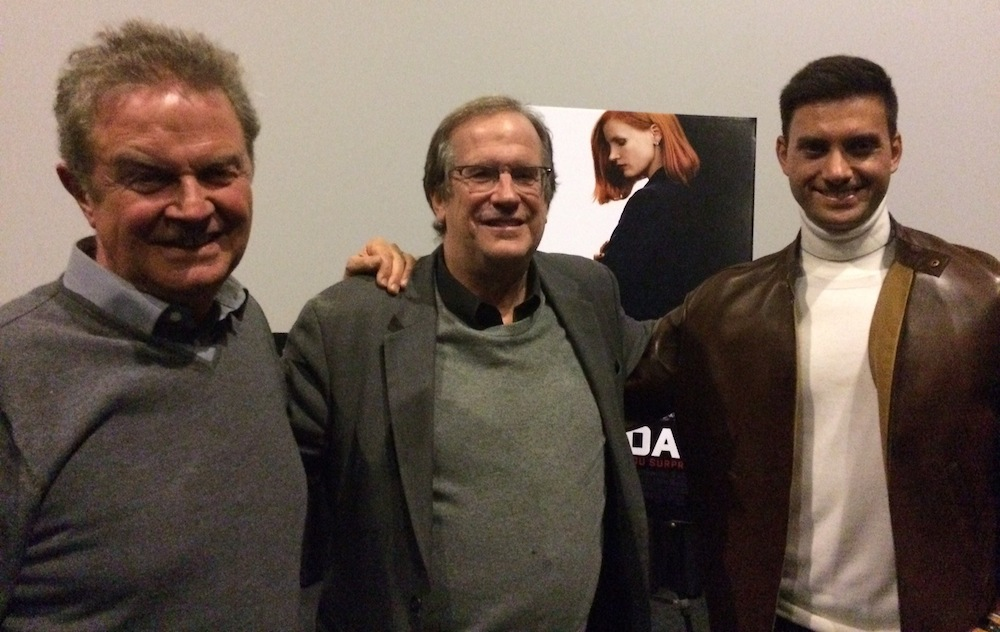 "Pete Hammond, John Madden and Jonathan Perera pose for a photo following the screening of ""Miss Sloane"" at the KCET Cinema Series."