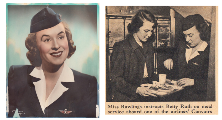 Phila Hach as a stewardess