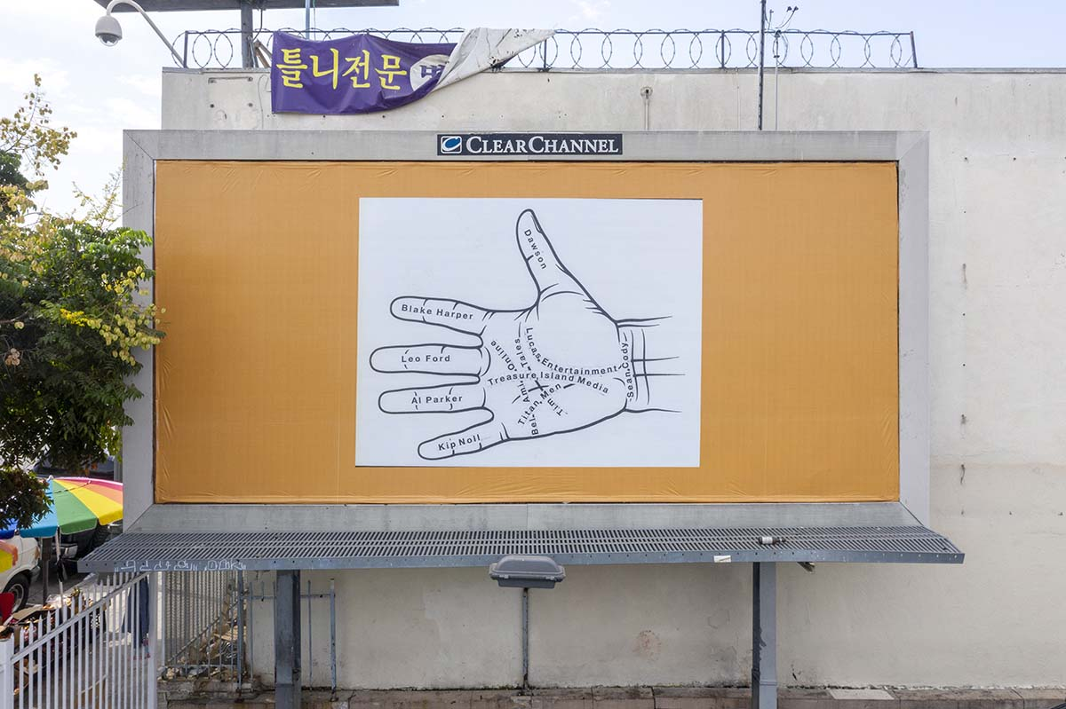 """Larry Johnson, """"Palmistry 2,"""" 2020. Billboard at W. Eighth St. and S. Alvarado St., Los Angeles, 90057. Courtesy of the artist, David Kordansky Gallery, Los Angeles, and 303 Gallery, New York. """"Made in L.A. 2020: a version."""" 