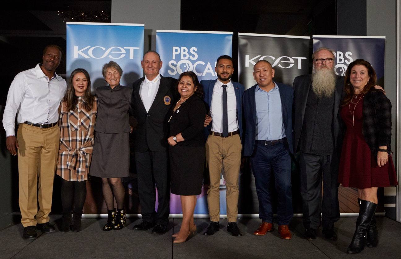 (L to R) Pastor Stephen Cue Jn-Marie (2019 KCET & PBS SoCal Local Heroes honoree), Local Heroes nominees Mary Vu Iammarino, Lois Arkin, Jerry Herrera, Mari Morales Rodriguez, Mynor Godoy, Steve Kim, Don Larson, and Alison Suffet Diaz 2019 KCET & PBS SoCal