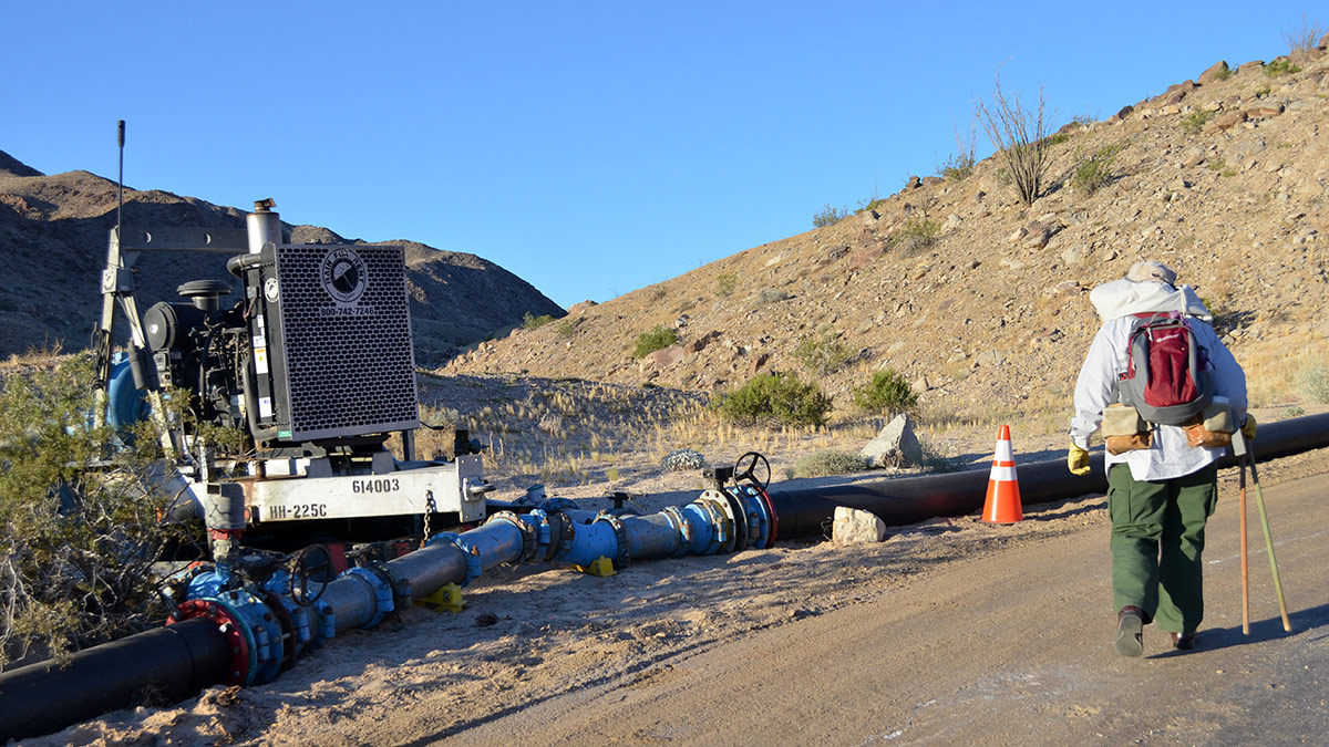 Edie Harmon looks at the water pipeline and pump station along the road into Skull Valley. | Nick Morales