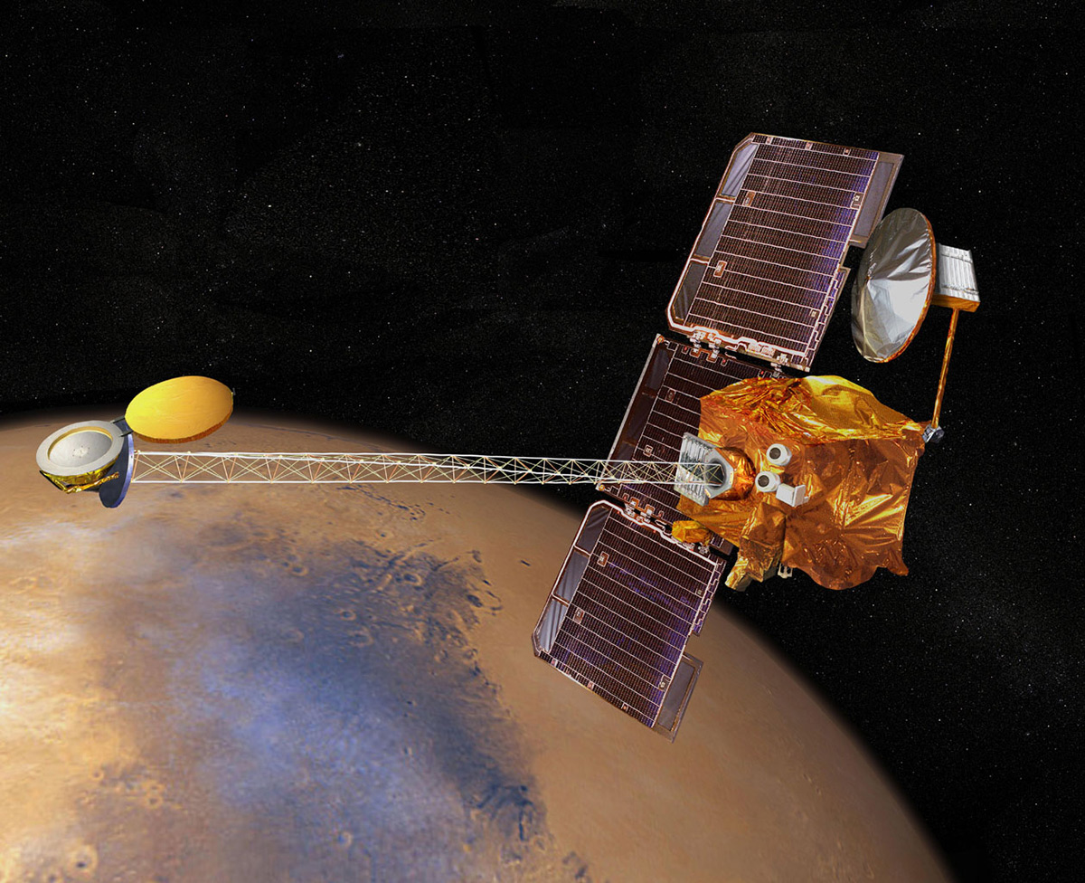 Artist's concept of 2001 Mars Odyssey spacecraft. | NASA/JPL