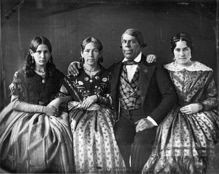 Pío de Jesus Pico and his wife, María Ignacia Alvarado Pico, in 1852, with two of their nieces, María Anita Alvarado (far left) and Trinidad Ortega (far right).