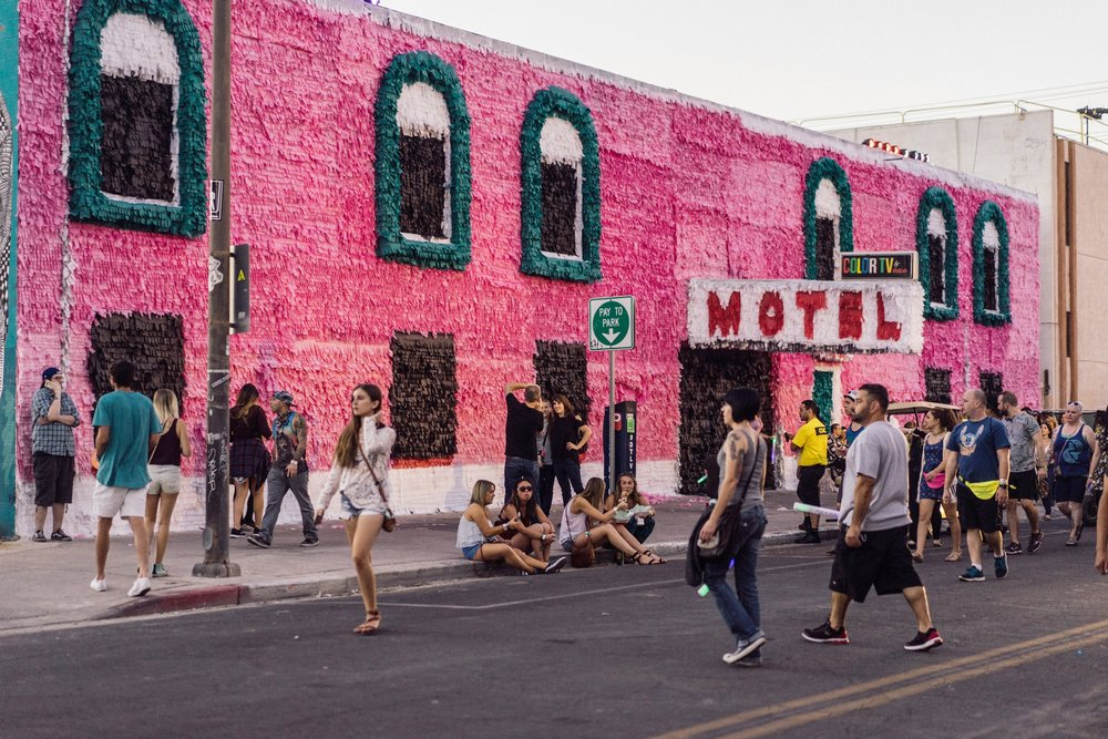 "Justin Favela's ""Piñata Motel. 2016"" uses paper and glue on an existing motel.