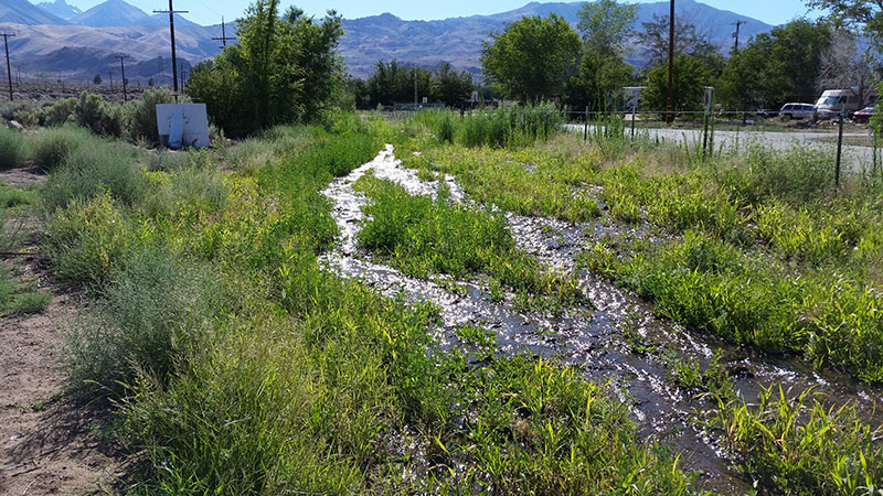 Broken pipeline in Big Pine on LADWP land | Photo: Big Pine Paiute Tribe