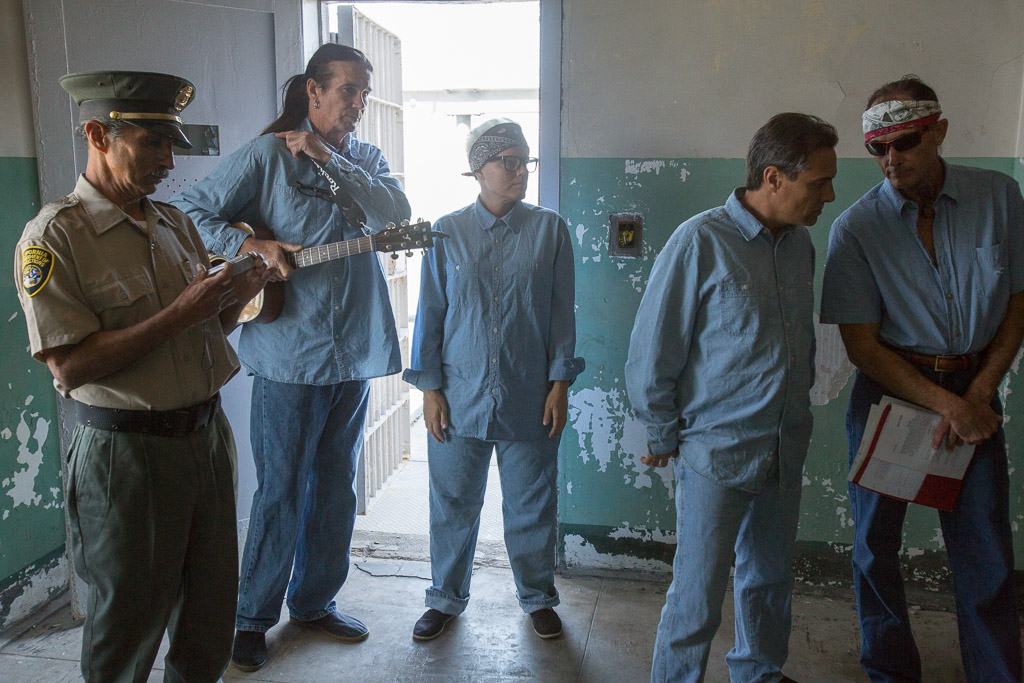 "Actors with Santa Maria's Poetic Justice Project perform the play ""In the Kitchen with a Knife"" at Alcatraz"