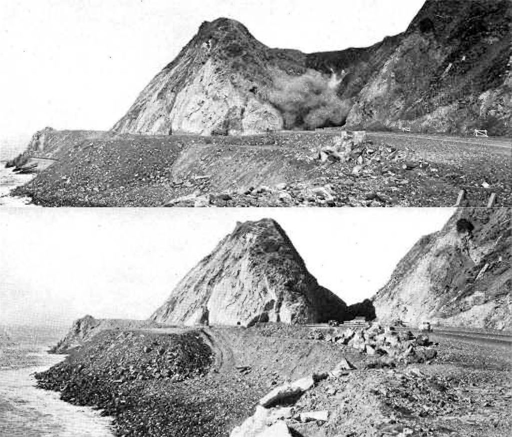 Workers used 107 tons of explosives to create a 60-foot cut through Point Mugu. Photos from the October 1940 issue of California Highways and Public Works, courtesy of the Metro Transportation Library and Archive.