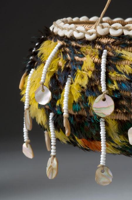 Pomo feathered basket closeup