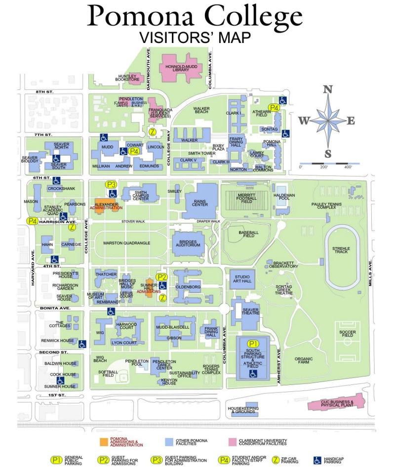 Pomona College Campus Map