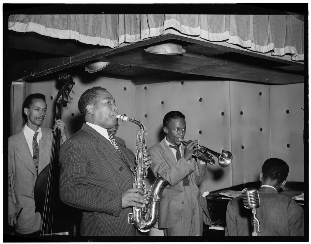 Portrait of Charlie Parker, Tommy Potter, Miles Davis, Duke Jordan, and Max Roach, Three Deuces, New York, N.Y., ca. Aug. 1947