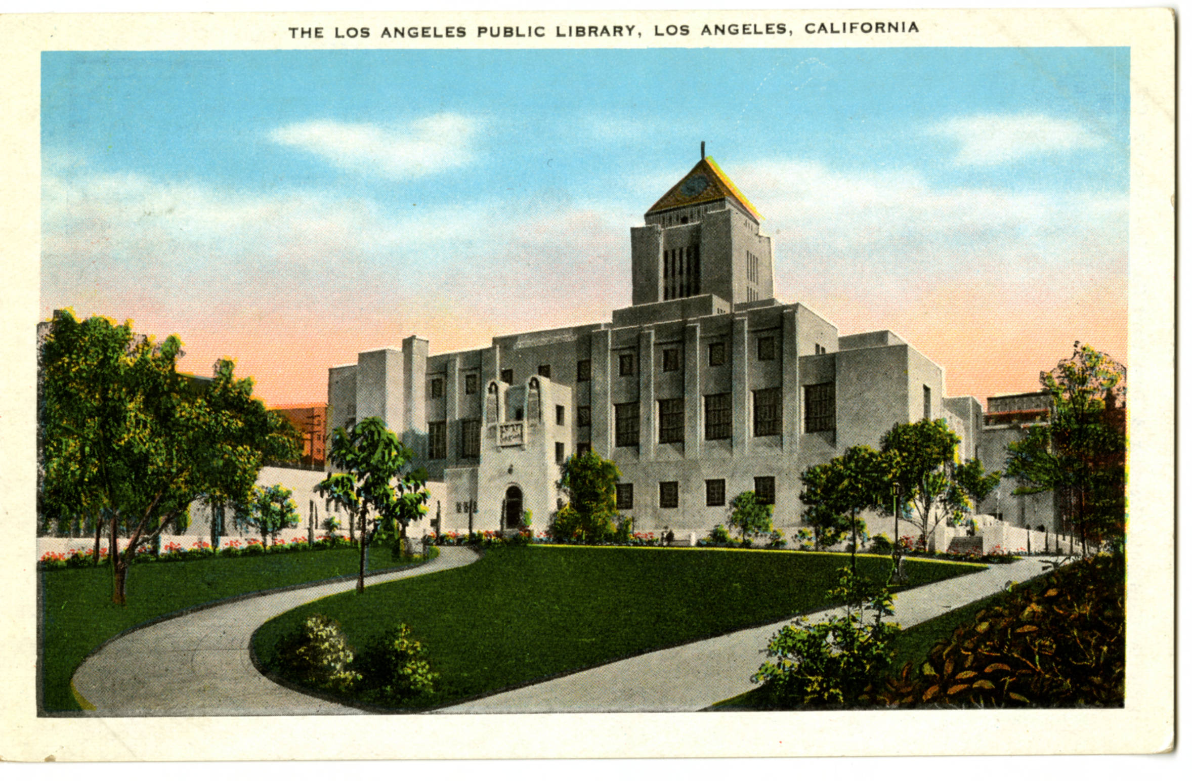 Circa 1930 postcard of the Los Angeles Central Library
