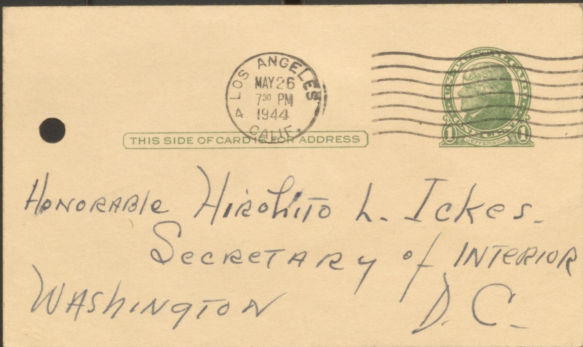 "Postcard addressed to ""Honorable Hirohito L Ickes"