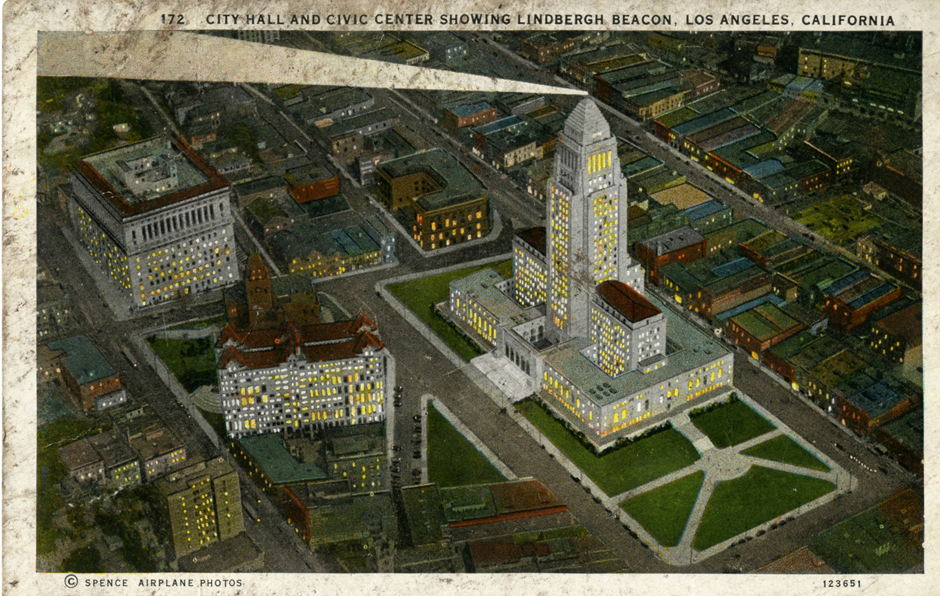Postcard of Los Angeles City Hall at night, circa 1930s