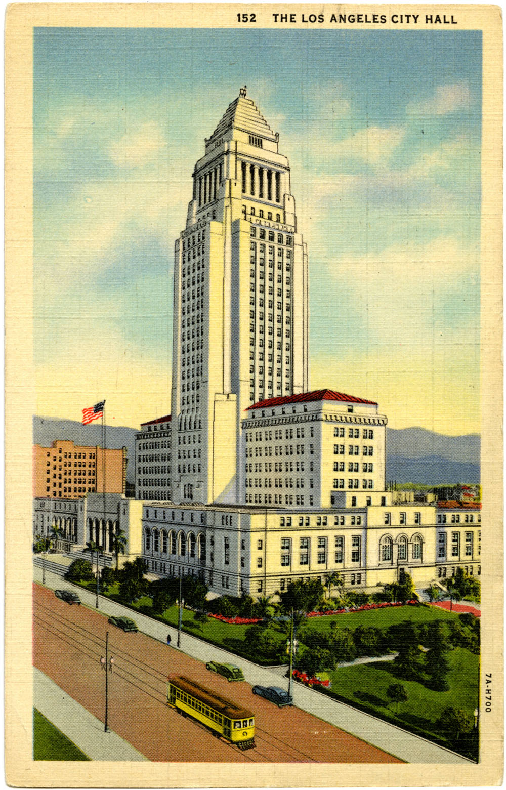 Postcard of Los Angeles City Hall, circa 1938