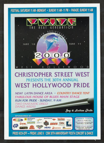 Pride: the next generation poster for the Los Angeles gay & lesbian pride celebration, 2000.   Christopher Street West/Los Angeles, ONE National Gay and Lesbian Archives, USC Libraries