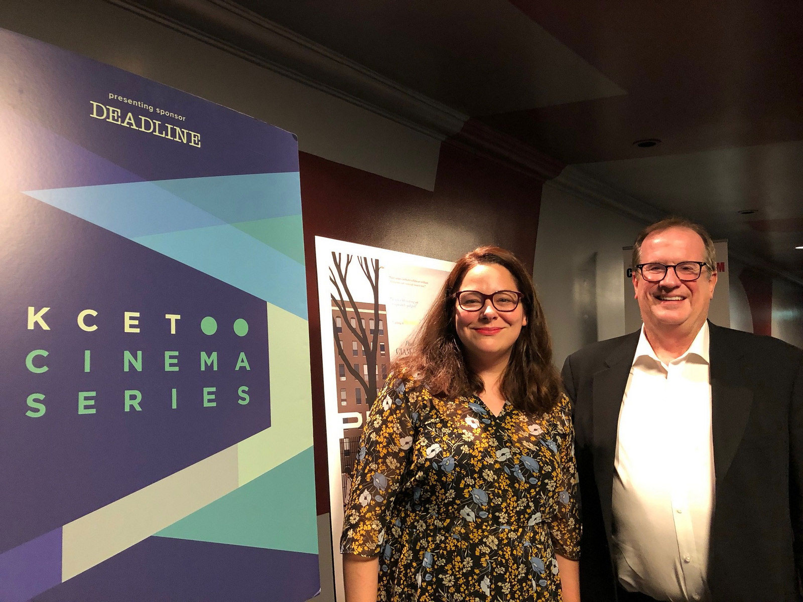 """Producer Stefanie Azpiazu with Cinema Series host Pete Hammond after a screening of """"Private Life"""""""