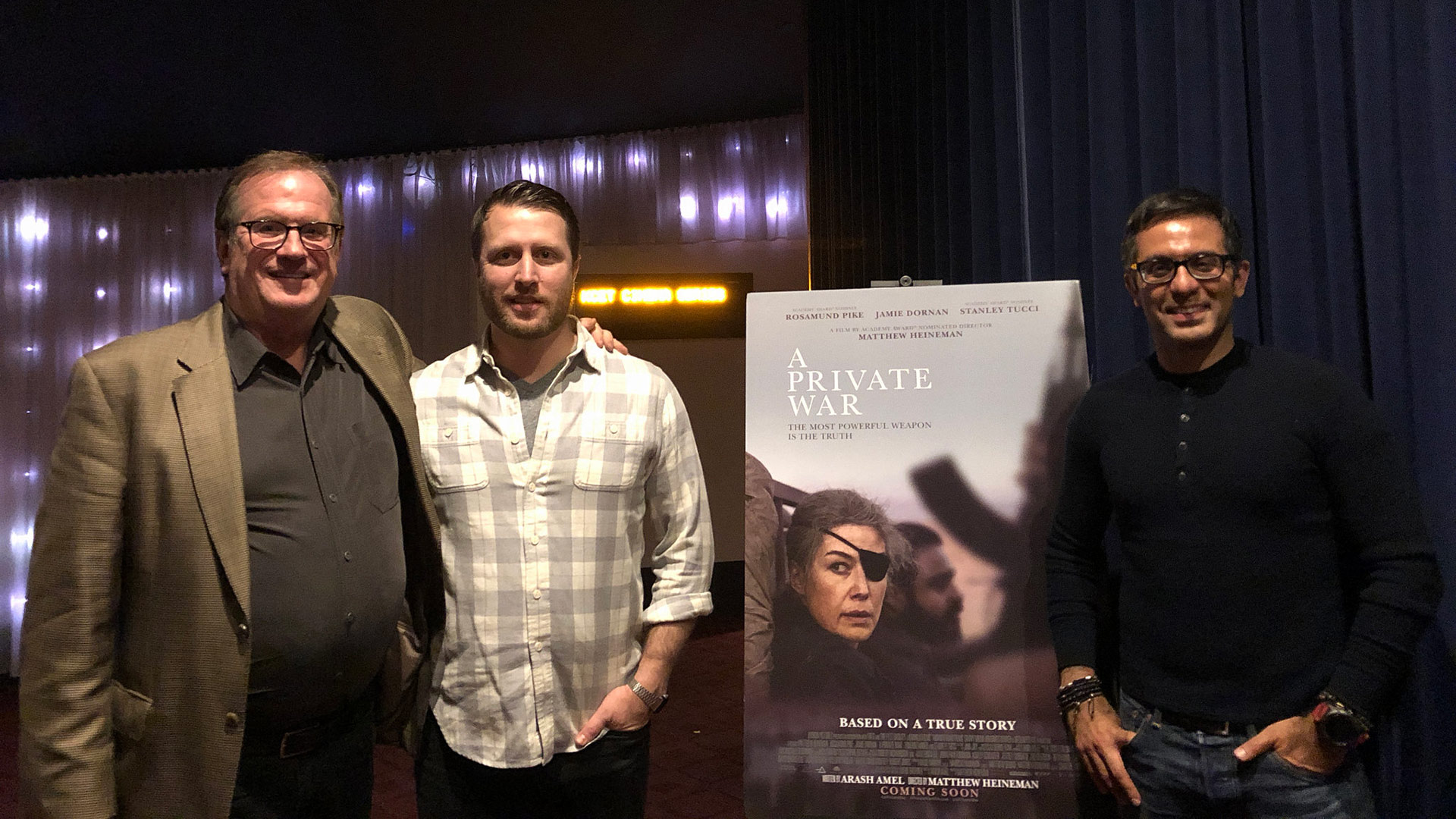 "Cinema Series host Pete Hammond with Director/Producer Matthew Heineman and Screenwriter/Co-producer Arash Amel after a screening of ""A Private War"""