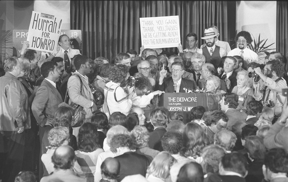 Howard Jarvis, chief author of Prop. 13, speaking to crowd after California Proposition 13 victory, 1978