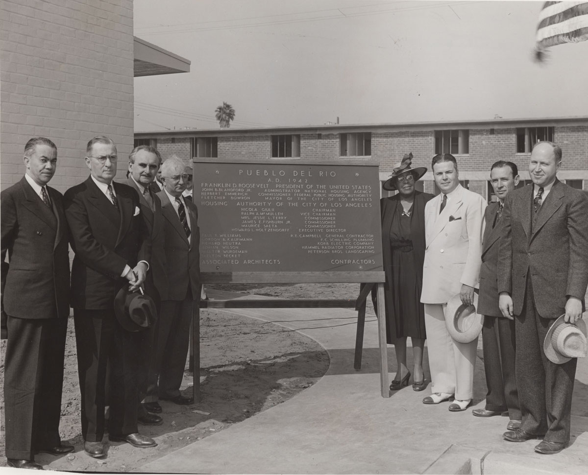 Paul R. Williams at a ceremony for Pueblo del Rio Housing Project | Housing Authority Collection