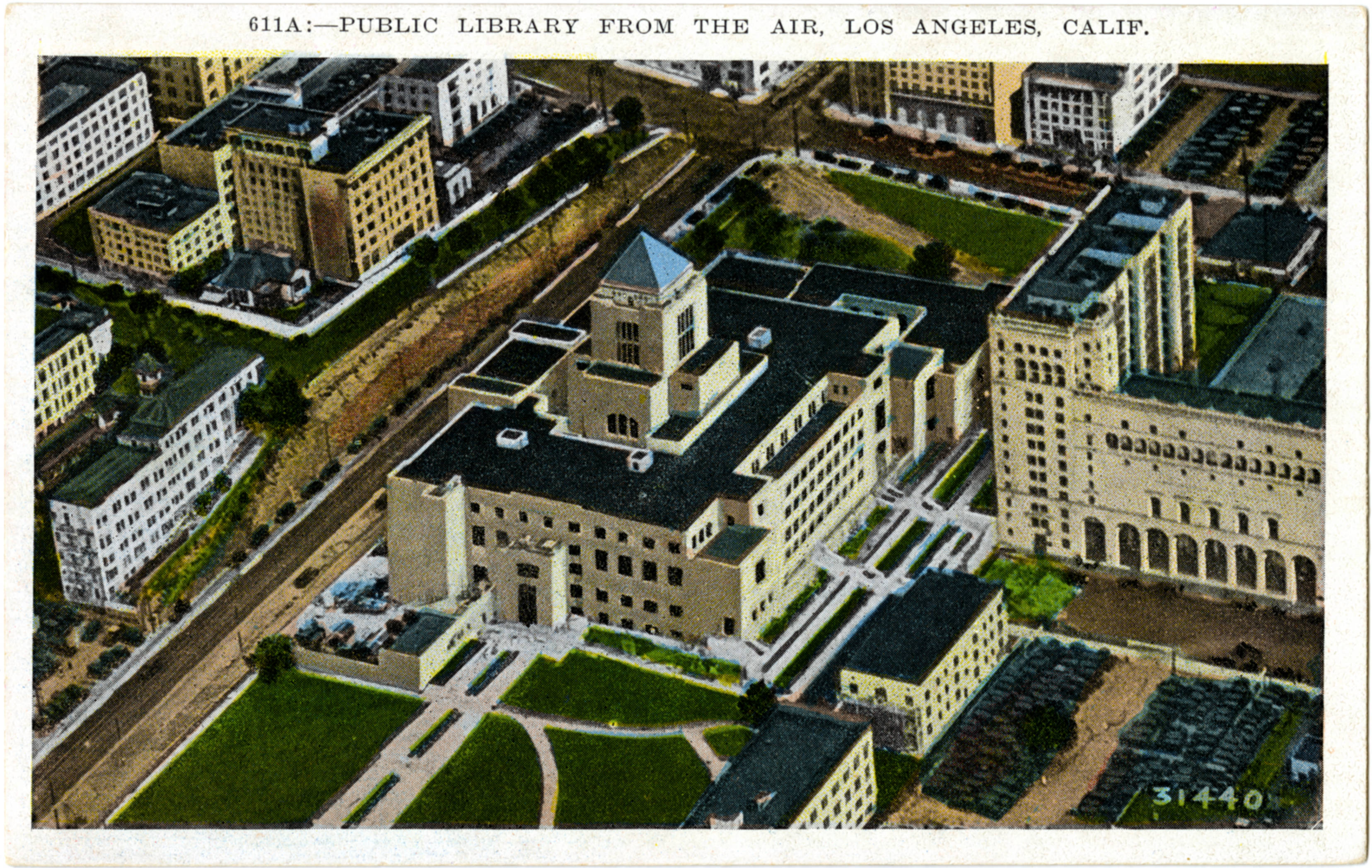 Circa 1928 postcard featuring an aerial view of the Central Library