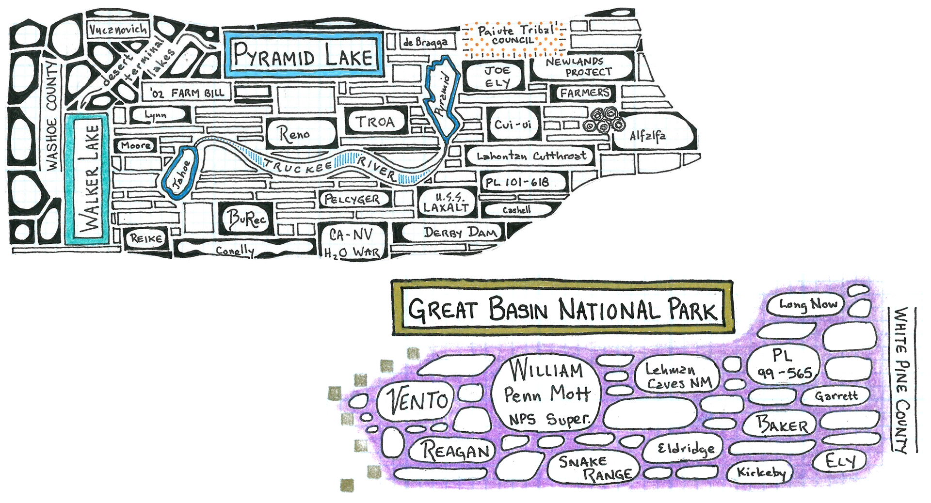 """The """"Great Basin National Park"""" and """"Pyramid Lake"""" panels represent historical events on Sen. Harry Reid's environmental power map. 