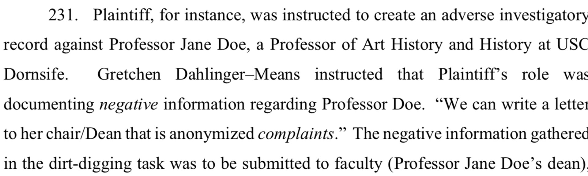 "The suit alleges 'dirt files"" were to be used against faculty, including a particular art history professor for ""vocalizing unpopular opinions."""