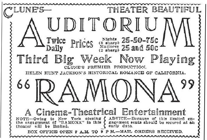 """""""Ramona"""" advertisement"""
